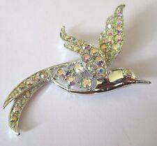 broche bijou vintage signé SARAH COV oiseau cristal boréalis couleur  argent 268