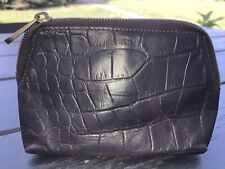 Mulberry Croco Leather Cosmetic Bag Case Chocolate  Brown Authentic!!!