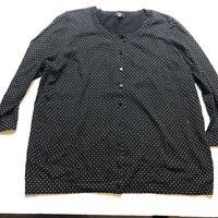 Talbots Plus Size 1XP Black Polka Dot Cardigan Sweater A919