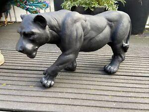Figur Puma  Statue schwarz Panther Deko Figur