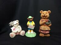 Lot of 3 Teddy Bear Figurines Comfort Promise Collection Avon Special Delivery