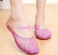 Trendy Womens Round Toe Ventilate Jelly Cute Slippers Mules Slip On Casual Shoes