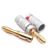 More details for 8pcs banana plug top qualify 24 k gold speaker amp double screws locking uk
