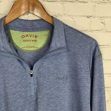 Men's Orvis Trout Bum (L) Blue 1/4 Zip Performance Stretch Fly Fishing Shirt