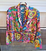 Sandy Starkman Floral Blazer Jacket with Heart Embroidered Bold Multicolor Large