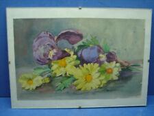 Jolie aquarelle décor d'iris et fleurs jaunes