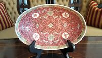 Mun Shou Oval Serving Bowl Red Porcelain Vintage Chinese Jingdezhen Exc. Cond.