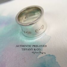 Excellent Authentic Tiffany & Co. 1837 Wide Silver Ring Size 4.5 Widest