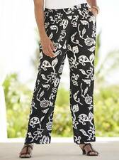 ULLA POPKEN Womens XL 12 14 New Leaf Gauze Pants Black White Crinkle