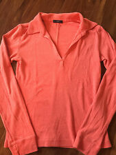 ladies XS SMALL RED COLLARED SHIRT casual cotton V-NECK L/S modern STRETCHY