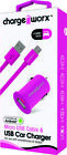 Chargeworx CX3107PK USB Car Charger Micro USB Cable Pink [New ]