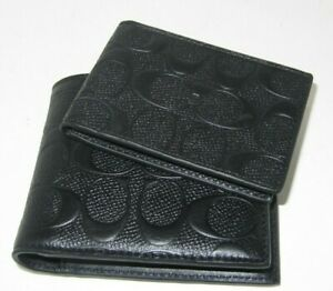Coach F75371 3 In 1 Men's Compact ID Wallet Black C Embossed Leather NWT $188