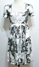 Cristinalove Ladies White and Green Empire Waist Polyester Dress Tunic - SMALL