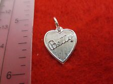 14 KT GOLD PLATED  HEART SHAPED BRUSHED BETTY NAME CHARM PENDANT