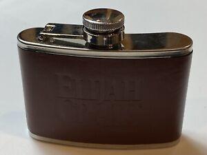 Elijah Craig Bourbon Empty Leather Wrap Stainless Steel Flask 4 oz
