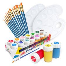 Acrylfarben Set für Kinder & Erwachsene | 14 Farben + 1 Mischpalette + 12 Pinsel