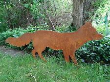 Gartenstecker Fuchs aus Metall, Rost, Edelrost Gartendeko