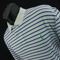 Mens Polo Ralph Lauren White Striped Short Sleeve Golf Polo Shirt Size Large L