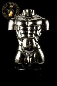 Bronze Sculpture Figure Erotic Handmade Sexual Silver Torso Male Man Art Deko