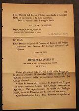REGIO DECRETO - Costituito comune di Bagnoli del Trigno in sezione autonoma- 282