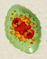 """Vintage Hand Painted Floral Wood Pin Brooch Green Red Orange Gold 2.5"""""""