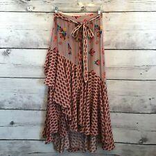 Anthropologie Bhanuni by Jyoti Casablanca Skirt Womens 2 Floral Wrap Ruffle Trim