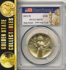 2015 W $100 HIGH RELIEF GOLD LIBERTY PCGS MS70 FIRST STRIKE FLAG LABEL +OGP