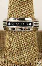 Sterling Silver (925) & 0.50 CTW Black Diamond Wide Band Men's Wedding Ring