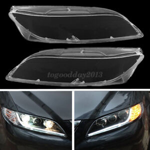 Pair Right Left Headlight Clear Lens Lamp Cover Polycarbonate For Mazda 6 03-08
