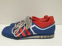 R960 MENS ADIDAS POWERLIFT BLUE RED STRAP & LACE UP TRAINERS UK 11 EU 46 US 11.5