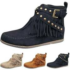Womens Suede Fringe Ankle Boots Flat Moccasin Winter Casual Booties Shoes Sizes