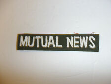 c0362 Vietnam era MUTUAL NEWS name tape white on OD Fatigues R10E