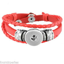 5 Bracelet Breloque Multilayer Cuir PU Rouge pr Bouton Pression DIY 21cm
