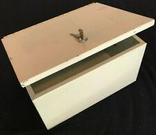 Vintage Heavy Duty Metal Locking Strong Box Safe Lockbox Lock Box & 2 Keys