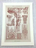 1883 Antique Print French 17th Century Polychrome Architectural Ornamental Work