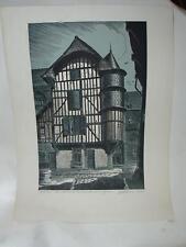 Charles FAVET, gravure sur bois originale, Troyes Maison Tourelle orfèvre  signé