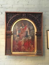 Antique 18th C South American Oil Painting Madonna of Mt. Carmel Holy Souls