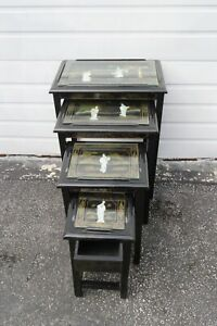 Oriental Black Painted Nesting Tables Set of Four 1658