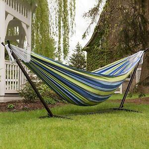 Yardwe Hammock Swing Bed Outdoor Hammock Multi-Functional Canvas Hammock for Camping Travel 260 x 80cm Blue
