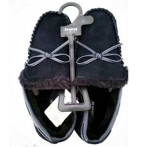 Official FIRETRAP Moccasin NAVY Leather Suede Fur Slippers Mule NEW UK 7 or 11