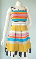 Annalee & Hope Women's Petite Size 4P Blue Yellow Black Striped Cocktail Dress