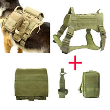 Tactical Molle Dog Harness Adjustable K9 Training Coat Backpack with 3 Pouches