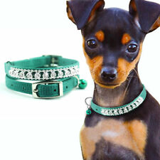 1 Row Rhinestone Studded Puppy Pet Cat Dog Collars with Bell Army Green