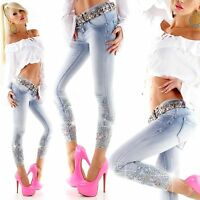 Sexy Women Denim Trouser Ladies Skinny Jeans Embroidery Blue Slim Pant Size 6 14