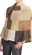 Anthropologie Sparrow Metallic Patchwork Poncho Sweater S/M