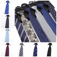 Lazy Men's Zipper Necktie Casual Business Slim Thin Striped Zip Up Neck Ties 6CM
