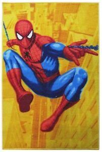 Tappeto Spiderman Uomo Ragno Giallo-Arancio 120x80 Antiscivolo Cameretta Marvel