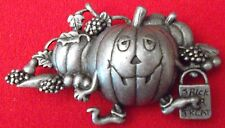 Halloween Pumpkin in Pumpkin Patch Vintage Brooch Pin, Pewter, Danecraft. NEW