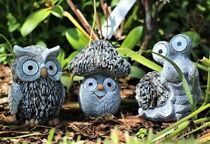 Garden Ornament Solar Animal Snail Owl Mushroom Toadstool Lamp Decor LED