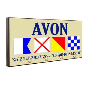 Avon NC Outer Banks Nautical Flags Design Key Hanger / Pet Leash Hanger